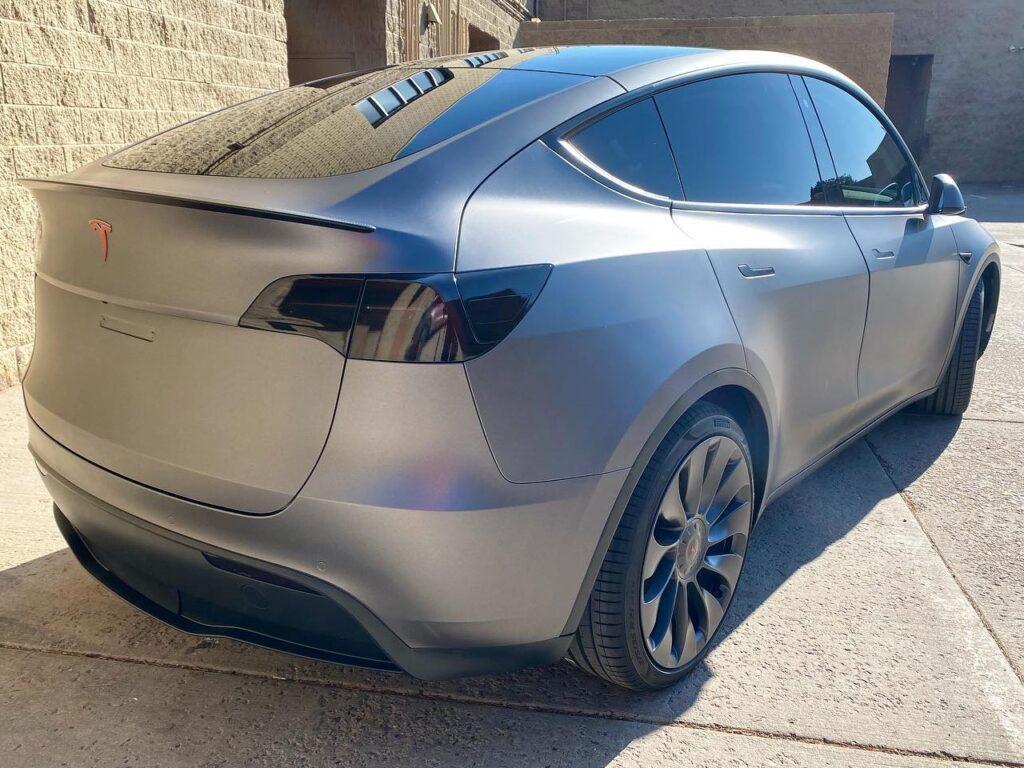 grey Tesla Model Y ceramic window tinting back side view