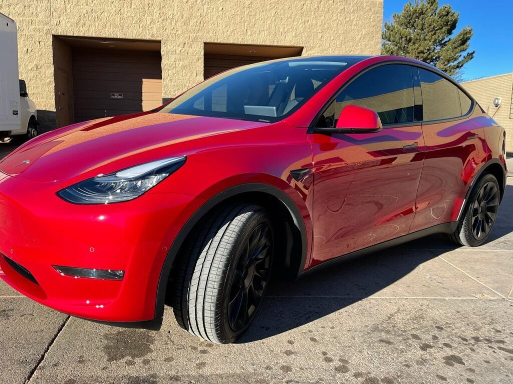 Tesla Model Y front side view full Front End PPF + Ceramic Coating + Ceramic Tint!