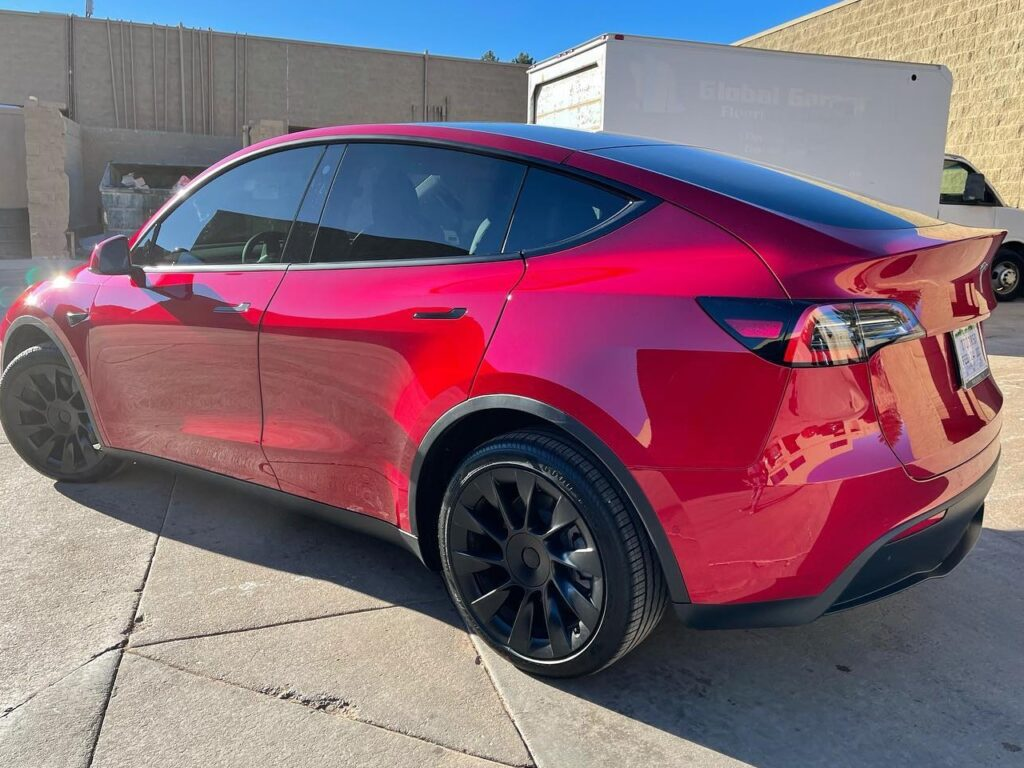 Tesla Model Y back view full Front End PPF + Ceramic Coating + Ceramic Tint!